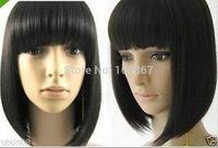tylish Short Made Straight Hair wig Natural Kanekalon Fiber no lace Hair full Wigs