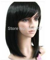 Charming short Medium black Straight Cosplay WigNatural Kanekalon Fiber no lace Hair full Wigs