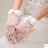 With Bow lace short gloves bridal gloves wedding gloves free shipping wholesales Korea style wedding gloves