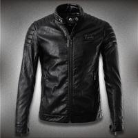 B New Winter Men'S Leather Jacket Zipper Top Kali Pi Simple Men Slim Leather Motorcycle Blade XXXL A12