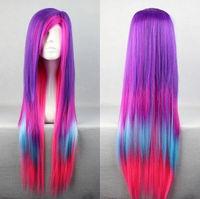 80cm Long Charm Lolita Color Mixed Straight Anime Cosplay wigNatural Kanekalon Fiber no lace Hair full Wigs