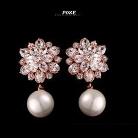 ZSE011  Wholesale 2014 New AAA Cubic Zirconia Flowers Pearl Stud Earrings for Women Jewelry  bijoux POXE boucle d'oreille