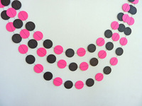 12 Feets Hot Pink & Black Garland, Paper Garland, Bridal Shower, Birthday Decoration