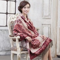 LingYangZaoAn  female   Autumn and winter warmth 100% pure wool long scarf-sided   wy269