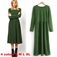 New Elegant Casual Women Dress 2014 Autumn Winter Brief O-neck Mid-calf Bodycon Dresses Solid Slim Waist Long Dress