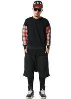 Plaid Patchwork O-neck Sweatshirt Men/ Plaid Crewneck Sweatshirt Women/ Autumn Winter Jumper Man
