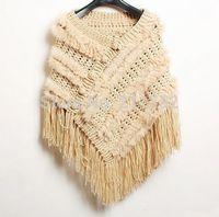 Free Shipping  Natural Fashion Rabbit Fur Shawl Ladies' Knitted Rabbit Fur Poncho natural fur scarf