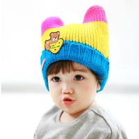 Warm hat Big Discount! 2014 New Baby Hats Cartoon Label Bear Ear Cap Fashion Autumn Winter Hat Children Hat Girls Boys Retail