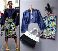 Europe Celebrity High Street Fashion Women's Nobel Long Flare Sleeves Blue Top + Vintage Ethnic Printed Pencil Skirt Set