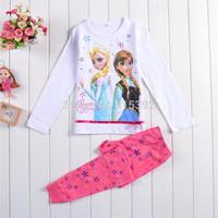 Hot girls children set kids pajama sets frozen natal pyjamas sleepwear Kid Full-sleeved clothing home 2T~7Tsets Free shipping
