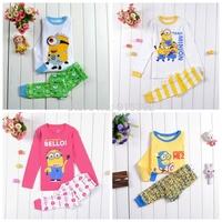 Retail! New Kids Wear Despicable me Boys minion Pajamas Children's Cartoon Pyjamas Long Sleeve Clothing set Printed Sleepwears