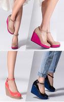 Fashion wedding dancing party shoe platform shoes wedges buckle lady pumps 141022-1