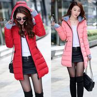 Women's hooded cotton-padded jacket winter medium-long cotton coat plus size down jacket female slim ladies jackets coats gift