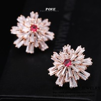 ZSE017 2014 New Luxury AAA Cubic Zirconia Flowers Stud Earrings for Women fashion Jewelry POXE boucle d'oreille Christmas