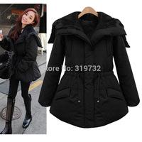 New 2014 Winter women medium-long hooded Fleece thick wadded jacket drawstring slim cotton-padded coat down jacket Free Shipping