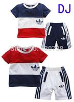 303 Free shipment baby boy block decoration short-sleeve casual sports shorts summer suit kids' Boys' T-Shirts sports wear