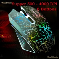 Original Supper 6 buttons 500 - 4000 DPI Optical USB Wired Gaming Mouse Mice For computer Laptop Desktop Discoloration