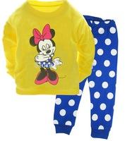New Arrival Minnie Mickey long sleeve sleepwear clothing Children's Pyjamas kids girls cartoon suits baby wear 6set/lot
