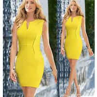 New 2014 Summer Women Elegant V-Neck Back Zipper Tank Sexy Strechy Evening Party Dresses Bandage Bodycon Mini Yellow Dress S-XL