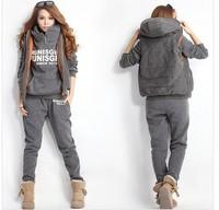 Women Autumn Fashion Hoodies Suit Leisure Sports Sweatshirt (Hoody,Panty,Vest ) 3pcs sets Jacket coat Sets