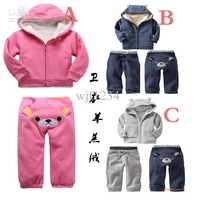 5 pieces/lot Winter Children's clothing baby lovely bear sets children kids berber Fleece 2pcs sets
