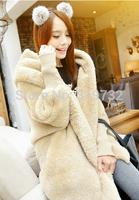 New 2014 autumn winter medium-long thickening outerwear female loose 2-sides fleece hoodies women plus size hoody Free Shipping