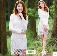 Dropshipping!2014 autumn women lace dress Elegant Holiday long dress thicken warm dress