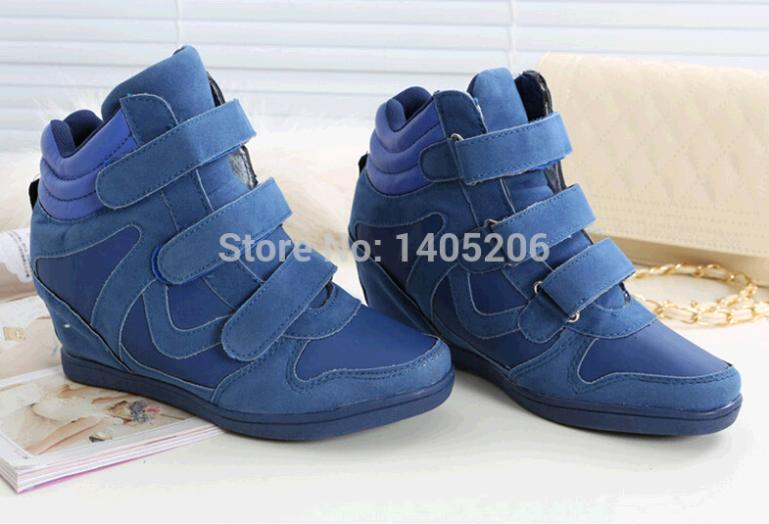 New product Classic Europe and United States winter of 2014 color matching convenient Velcro increased in women's shoes(China (Mainland))