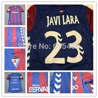 Top A+++  camiseta Eibar 2015 home red blue La Liga Men #23 JAVI LARA soccer jerseys