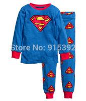 2014 superman pajamas baby Pajamas Kids Pyjamas Baby boys Cartoon Sleepwear Children Wear baby clothing 2pcs/set 6set/lot