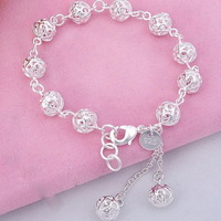 Min Order is $5 (mix order)Free Shipping 925 Silver Bangles Trendy Women's Ball Cutout Bracelet