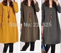 Plus Size Maternity Winter Dresses New 2014 Fashion Vestidos Casual Dress Cotton Atacado Roupas Femininas YELLOW
