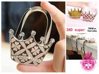 Foldable Purse hangers Crown Shape Diamond Classic Pattern Printed Leather Bag Hooks 3pcs/lot