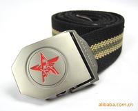 Wholesale new casual red pentagram belt buckle canvas belt automatic belt slip tactical belt tide male birds freeshipping