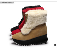 2014 winter wool fashion genuine leather boots elevator women's shoes snow boots