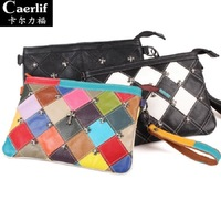 2014 Vintage Cross Rivet Plaid Cowhide Women Messenger Bag Genuine Leather Envelope Bag Day Clutch Women Leather handbag bolsas