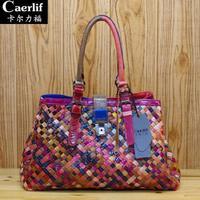 2014 fashion Brand genuine leather knitted sheepskin Women Leather handbag multicolour one shoulder women's handbag bolsas