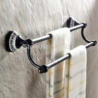 Oil Rubbed Bronze Double Bathroom Towel Bar Wall Mounted Ceramic Style Bath Towel Rod