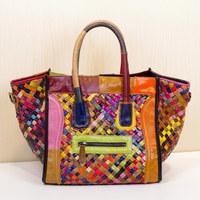 2014 New genuine leather multicolor Brand Women Leather handbag smiley sheepskin handbag cross-body Women Messenger bags Bolsas