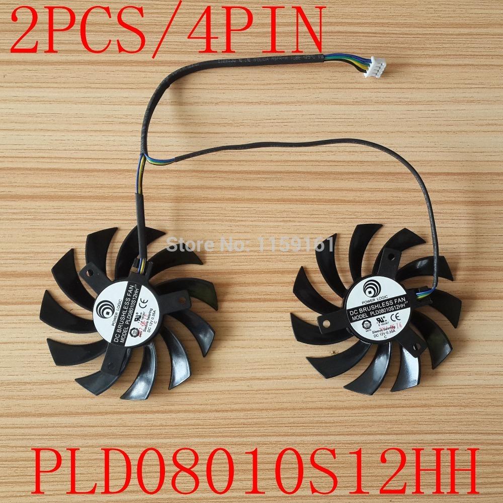 Free shipping POWER LOGIC PLD08010S12HH DC 12V 0.35A 4 Wire Dual Fan MSI 460GTX 560GTX 570GTX 580GTX R6790 R6870 R6850HAWK fan(China (Mainland))