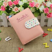 99 Time-hot sell new fashion Korea cute dot element brand wallet for women,mini short leather wallet for women,sweet women bags