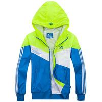 2014 New Arrival Men's Sportswear Hooded Jackets Hot Sale Spring Fashion Windbreaker Zipper Patchwork Coats Plus Size L-3XL