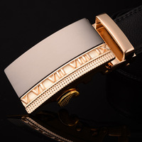 Gold  Letter Genuine Leather Belts  alloy  Buckle Belt for Men Low price High Quality Free Shipping