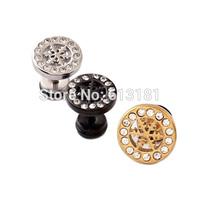 New Christmas Gifts Shiny Crystal Snowflake Earrings Titanium Steel Stud Earrings Men Jewelry Women Gold Snowflake Earrings