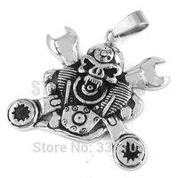 Free shipping! Motorcycle Skull Spanner Engine Pendant Stainless Steel Jewelry Gothic Large Motor Biker Men Pendant SWP0289