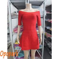 2014 New high quality fashion sexy  women celebrity bandage dress slash neck stripes back zipper red club party  dress  HL349