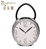 Free shipping 2014 New Interesting lovely alarm clock handbag Ms.