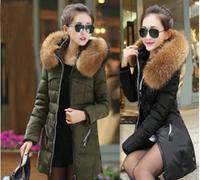 Free Ship! New 2014 Big Size Winter Jacket Women, women parka with Raccoon heavy hair Hat, Women long down jacket dress, S-4XL!