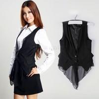 Women's Slim Black Waistcoat Sleeveless Covered Button Christmas Women Shirt Vest Warm Hooded Jacket Tops Casual Sv18 Cb031360