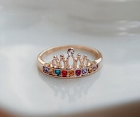 New fashion jewelry cute rhinestone Crown finger ring gift for women girl ladies' wholesale R1210